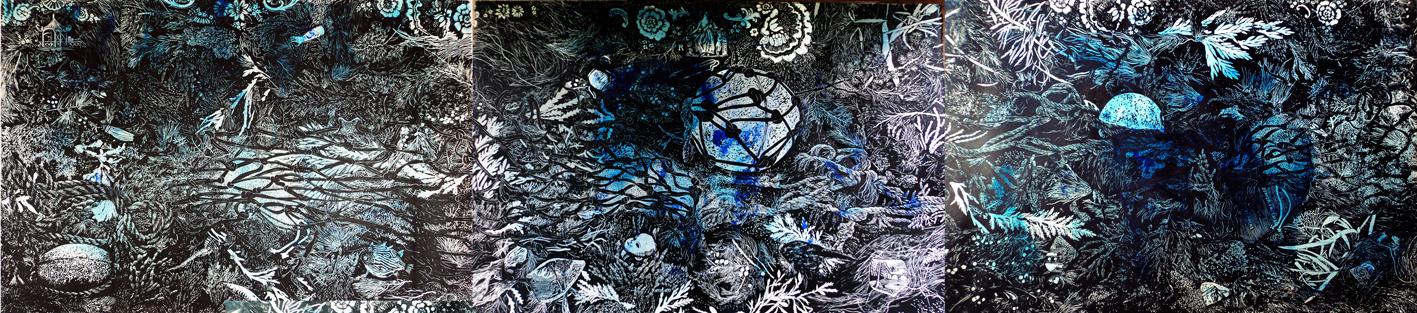Marion Manifold_Southern Ocean Wrack 1-3_Linocut & wash_(triptych)_ 82 x 366cm