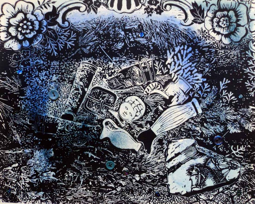 Marion Manifold_Raby 3_Linocut & hand-sewn sequins & buttons_34.5 x 40cm