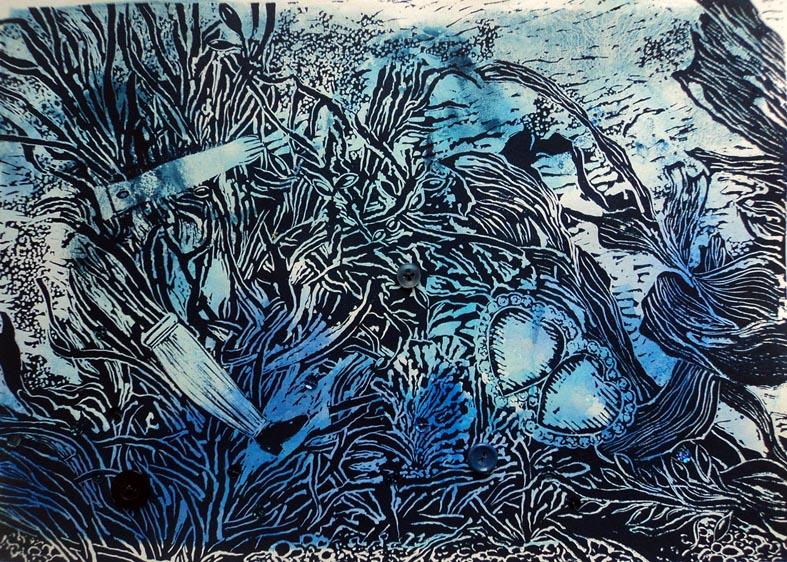 Marion Manifold_Raby_Linocut & wash, 35 x 45cm