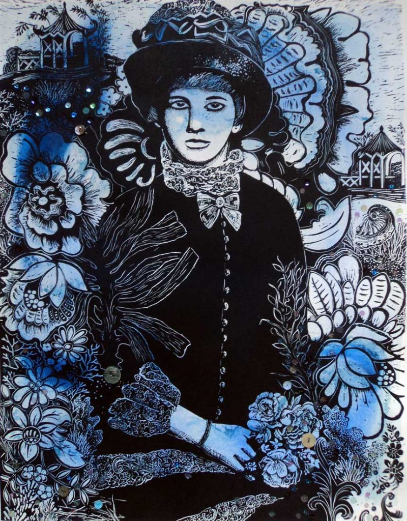 Marion Manifold_Raby2_Linocut, hand sewn beads and button_76 x 56cm