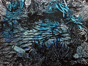 Marion Manifold_In the Depths of the Temple_Linocut with hand-sewn sequins and buttons_45 x 56.5cm