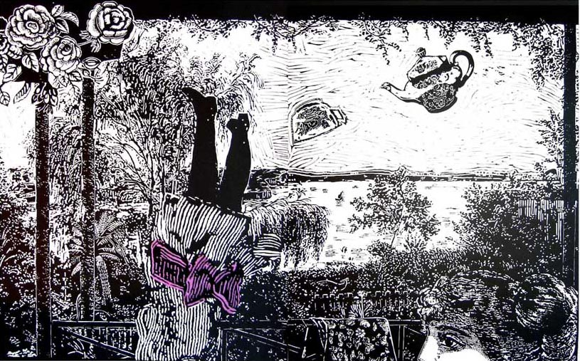 Marion Manifold_Rosy dreams: from the verandah of Purrumbete_Linocut and applique_76 x 120cm