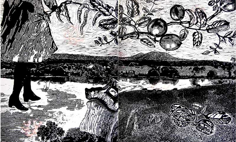 Marion Manifold_Spring: View toward Purrumbete_Linocut_76 x 112cm