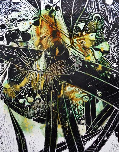 Marion Manifold_Botanica_Extincti_Linocuts_citriodora, print 76x56cm