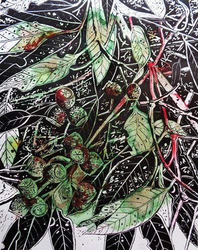 "Botanica extincti, ""Cosmopyhlla"" (Linocut 38cm x 28cm)"