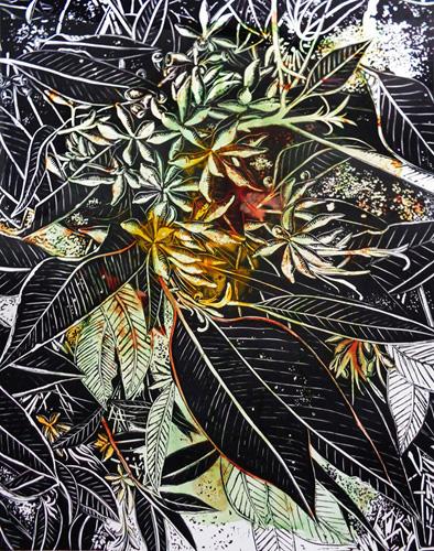 Marion Manifold_Botanica_Extincti_Linocuts_ficifolia, print 76x56cm