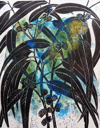 Marion Manifold_Botanica_Extincti_Linocuts_globulus, print 76x56cm