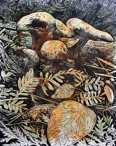 Marion Manifold_Botanica_Extincti_Linocuts_obliqua, print 76x56cm