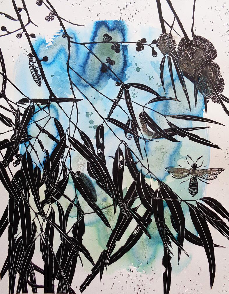 Marion Manifold_Botanica_Extincti_Linocuts_viminalis, print 76x56cm